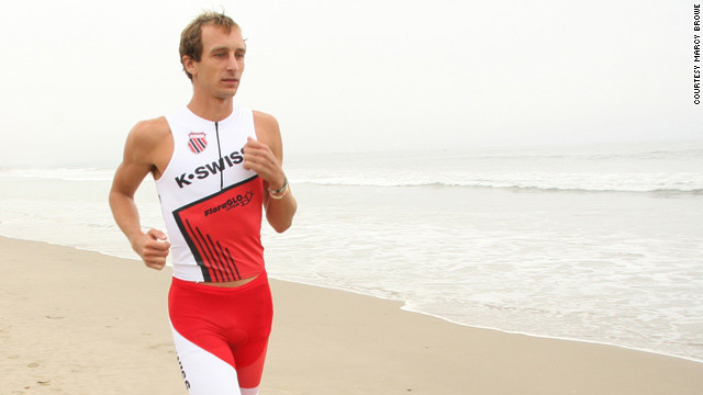Triathlete Aaron Scheidies, 30, is suing over a rule that makes vison-impaired runners wear blackout glasses.