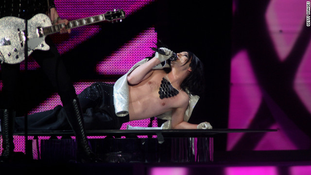 "Ola Salo, lead singer of Swedish glam rock act The Ark performs the song ""The Worrying Kind"" at Eurovision 2007 in Helsinki, Finland. Despite having had four albums top the charts in their homeland, and being a favorite with the bookies, the band finished in 18th place."
