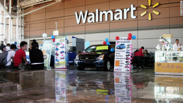 Wal-Mart store signage is seen from within the store on April 23, 2012 in Mexico City, Mexico.