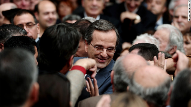 Greece's conservative New Democracy party leader Antonis Samaras arrives at Zappeion Hall before a pre-election speech, in Athens on April 22, 2012. Support for the major parties, New Democracy and PASOK, has plummeted.