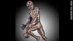 The Lowsman Trophy presented to Mr. Irrelevant is modeled after the Heisman. 