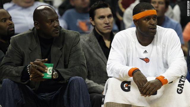 Basketball legend Michael Jordan (left) is the owner of Charlotte Bobcats, now the worse team in NBA history.