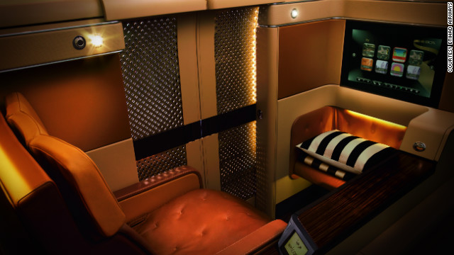 Etihad's Diamond first-class suites feature 23-inch entertainment screens loaded with games.