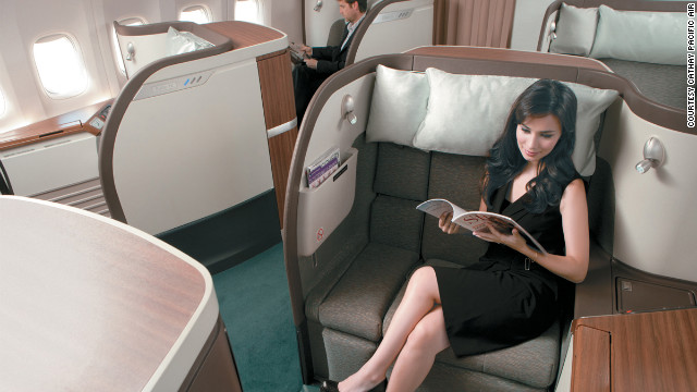 The first-class cabin on Cathay's 777s have six pods to optimize passenger privacy. 