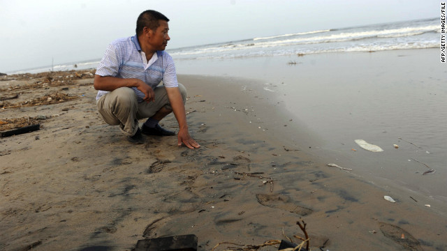 A Chinese official inspects a beach in northern China's Hebei province, on July 26, 2011, after an oil sludge washed ashore. 