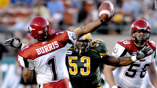 Linebacker Andre Sommersell was selected by the Oakland Raiders in the 2004 draft. He left the NFL the next year and is pictured in 2006 playing for the Edmonton Eskimos of the Canadian Football League, wearing No. 53.
