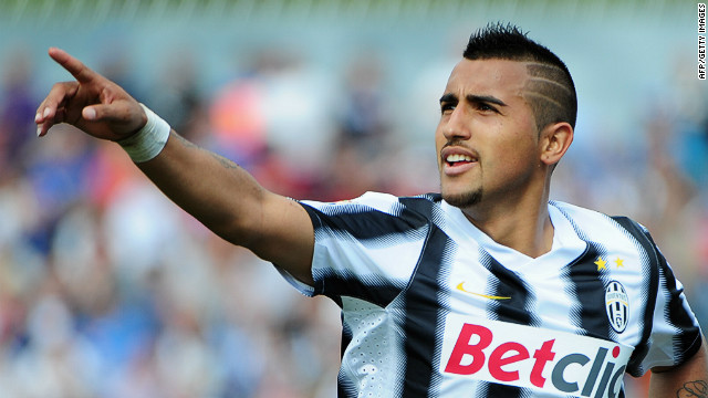 Juventus midfielder Arturo Vidal celebrates after scoring during the Serie A match against Novara