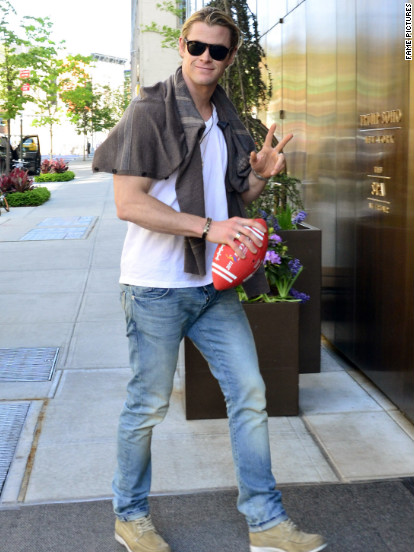 Chris Hemsworth returns to his hotel after a football game with his friends in New York City.