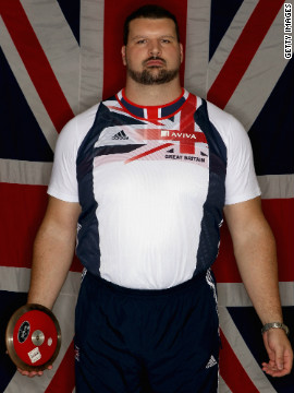 Known as the 'Blackpool Tower' because of his giant frame, Carl Myerscough, 32, tested positive for anabolic steroids in 1999. The shot putter and discus thrower has always denied taking the drugs. He won bronze for shot put at the 2002 Commonwealth Games. Prior to the 2004 Athens Olympics, Myerscough appealed against his lifetime Olympic ban but was unsuccessful.