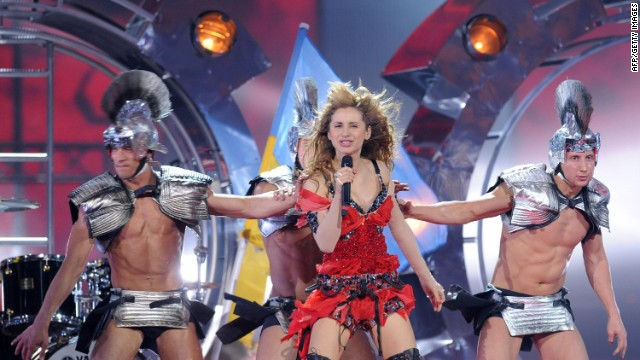 "In 2009, Ukraine's Svetlana Loboda was accompanied by dancers wearing gladiator costumes as she performed ""Be My Valentine."""