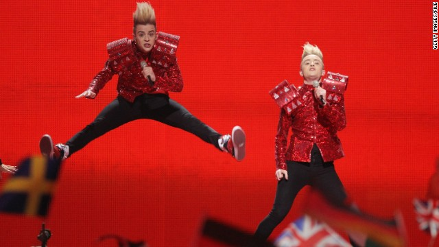 The identical twin brothers in Irish duo Jedward are known for their towering blond quiffs and outrageous costumes. Having finished eighth in last year's competition, they will represent their country again in Baku.