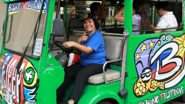 Josefina Barandon swapped her taxi for an electric jeepney in Manila, and for the first time was making a steady wage with fixed hours and benefits.