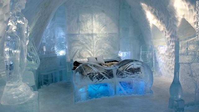 Across the border over in north Sweden is the now-infamous Ice Hotel -- where visitors sleep on a bed made from blocks of frozen ice.