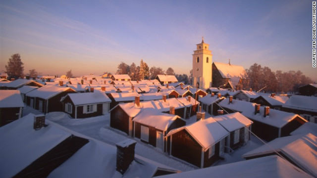 "With its church and 424 surrounding wooden buildings, Gammelstad is perhaps the best-preserved example of a ""church village"" in Sweden, and has won UNESCO World Heritage status accordingly."