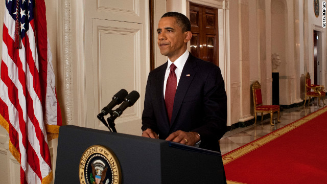 President Obama announces the killing of Osama bin Laden, in a broadcast from the White House May 1, 2011.