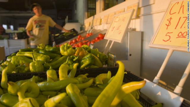 A produce stand near Pueblo sells green chiles. In September, the town hosts a Chile & Frijoles Festival.