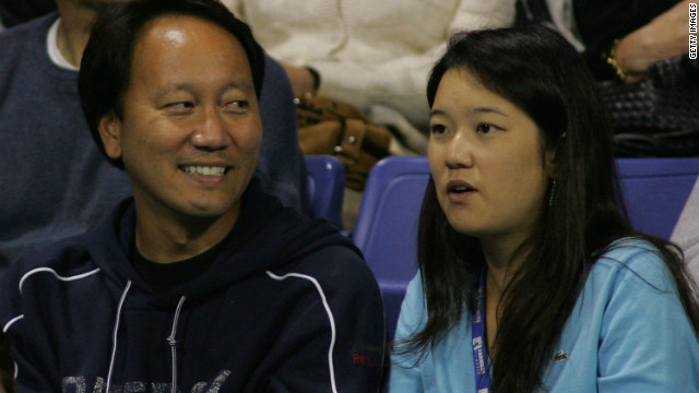 Michael Chang with his wife of four years Amber Liu, herself a former Stanford University and collegiate tennis star. They have a young daughter.
