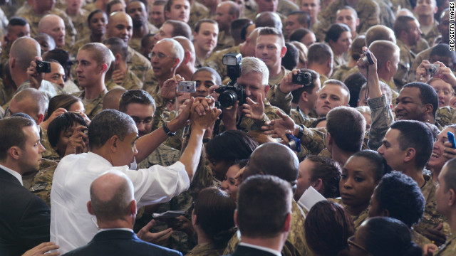 Obama greets troops during a visit to Bagram Air Base in Afghanistan. Obama signed a U.S.-Afghanistan strategic partnership agreement during his unannounced visit to the country. 