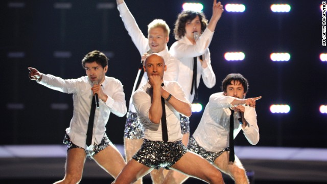 "Lithuanian group InCulto stripped down to glittery hot pants for the climax of their song ""Eastern European Funk"" in 2010."