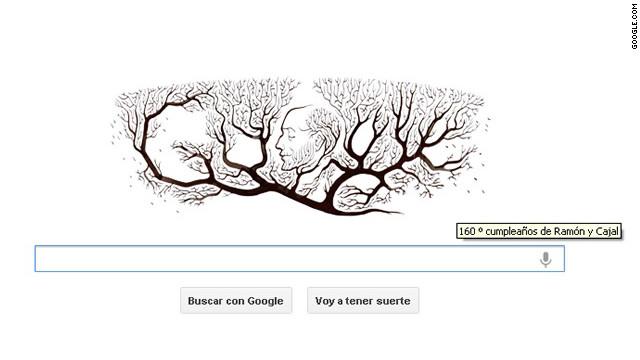 """Google festeja con un """"doodle"""" el 160 aniversario de Ramón y Cajal"""