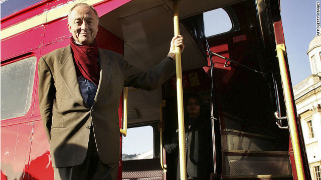 Then-Mayor Ken Livingstone is seen with a newly refurbished Routemaster bus in November 2005 in London. One of his first -- and most unpopular -- acts was to scrap the much-loved but decrepit fleet of Routemaster buses, dating from the 1950s.