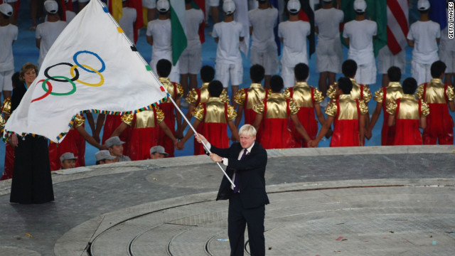 Boris Johnson waves the Olympic flag during the closing ceremony for the Beijing 2008 Olympic Games. In 2005, then-Mayor Ken Livingstone was instrumental in helping to win the 2012 Summer Olympics for London, and both candidates have claimed credit for the regeneration of East London near the Olympic site.