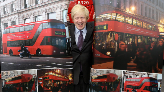 Boris Johnson poses with artists' depictions of the design for London's new Routemaster bus in May 2010. The buses are stylish -- echoing the design of the tourists' favorites -- but expensive: The first eight buses cost more than $18 million, although future buses will be $500,000 each. 