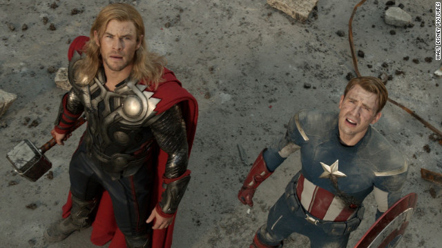 Chris Hemsworth, left, stars as Thor and Chris Evans stars as Captain America in