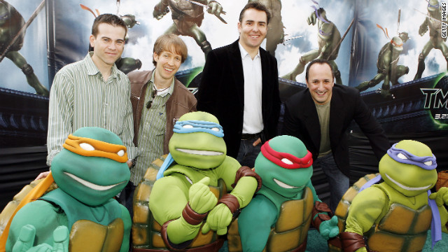 "Mikey Kelley, James Arnold Taylor, Nolan North and Mitchell Whitfield voiced the Teenage Mutant Ninja Turtles in 2007's ""TMNT."" Everyone's favorite pizza-eatng reptles will be back in <a href='http://popwatch.ew.com/2012/03/19/michael-bay-teenage-mutant-ninja-turtles-aliens/?cnn=yes' target='_blank'>Michael Bay's upcoming live-action reboot.</a>"