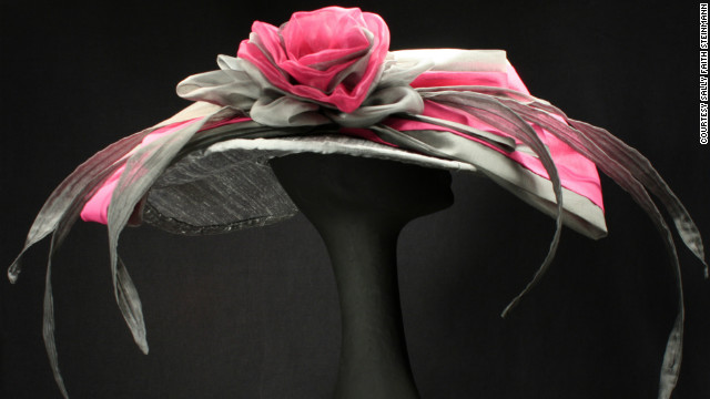 Steinmann's &quot;Michaela&quot; hat uses dupioni silk to create a wide brim hat, as well as a large rose curl, and one of her trademarks, several silk organza &quot;feathers.&quot; She doesn't like to use real feathers.