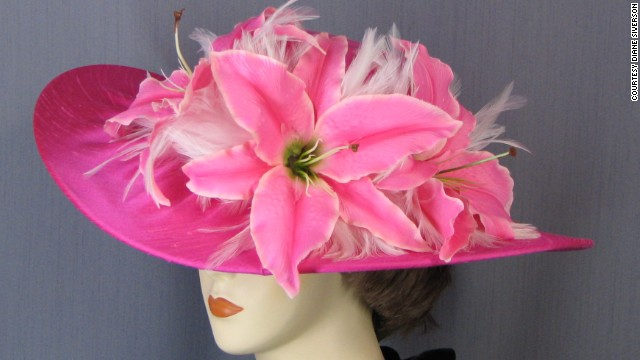 "Siverson's customers call her hats, like this ""Ocean Mist"" design, a ""party in a box"" because she uses balloons to stabilize the hats within their boxes when she ships them."