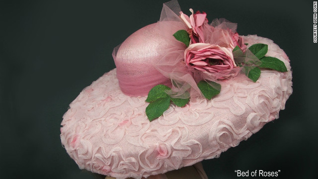Conti's &quot;Bed of Roses&quot; hat is made from sinamay, a plant-derived straw-like fabric that involves shaping and stabilizing over wooden blocks. 