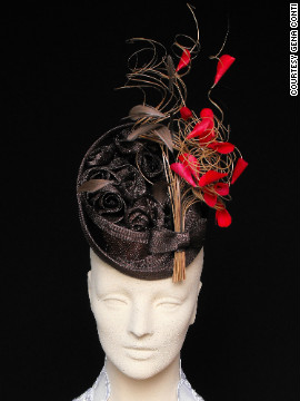 "One of Conti's best-selling designs is the ""Where's Robin?"" fascinator. She has styled it in different colors to match her varied clients."