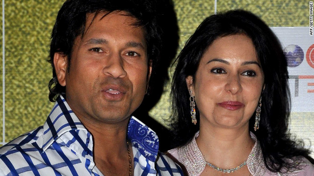Tendulkar, pictured with his wife Anjali, was honored at the &quot;Real Heroes Awards&quot; ceremony in Mumbai in March, run by the Reliance Foundation and CNN affiliate broadcaster CNN-IBN.