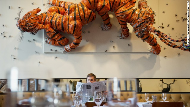 The dining room at Proof on Main showcases contemporary art. 