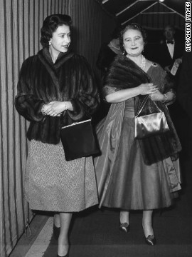 A relaxed evening at the theater: The Queen Mother and Queen Elizabeth II arrive at Windsor's Theatre Royal for a performance of George Bernard Shaw's &quot;You Never Can Tell&quot; on February 23, 1962. 