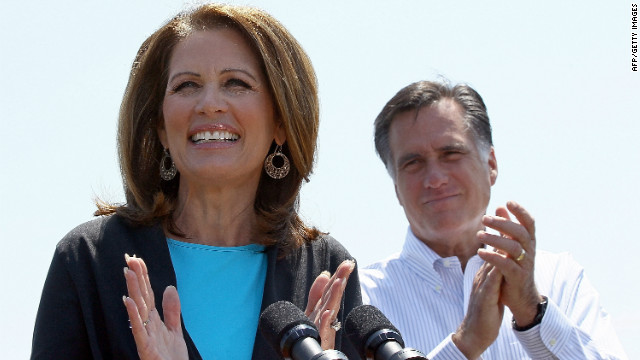 Rep. Michele Bachmann endorses former rival Mitt Romney at a campaign event in Virginia on Thursday.