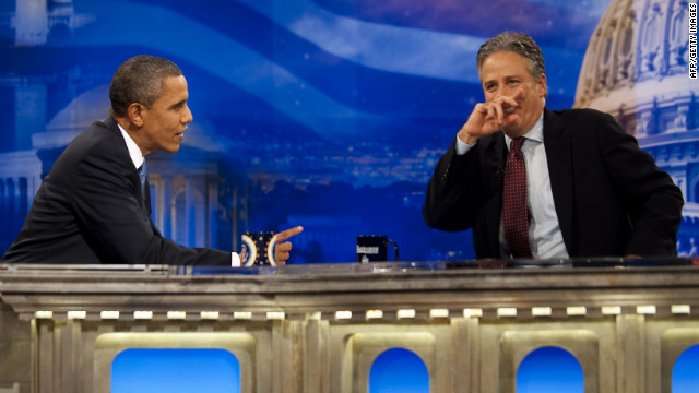 Obama spars with Jon Stewart on &quot;The Daily Show&quot; on October 26, 2010. He was the first sitting president to appear on the satirical television show.