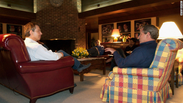 President George W. Bush and British Prime Minister Tony Blair meet March 26, 2003 at Camp David, Maryland.