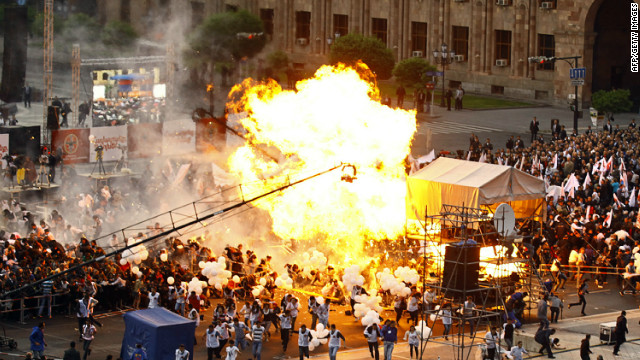 Hydrogen balloons explode during an Armenian Republican party's campaign concert in Yerevan on May 4, 2012.