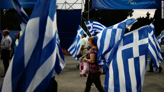Supporters of Greek conservative party New Democracy gather to listen a speech by the party's leader Antonis Samaras in Athens on May 3, 2012, before the country's first election was held on May 6.