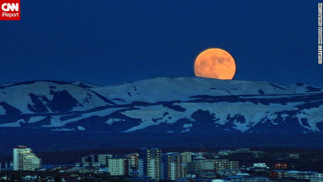 "CNN iReporter Halldor Sigurdsson captured this photo of the ""super moon"" of 2012 over Reykjavik, Iceland, on Saturday."