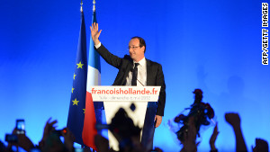 Francois Hollande gives his victory speech in Tule, France, after Sunday\'s presidential runoff election.