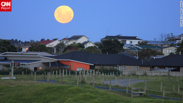 """I went to the farm 30 minutes before the moon rises. It brought forth excitement when the moon started to rise above the suburban skyline,"" said iReporter Jerry Phons of New Plymouth, New Zealand."