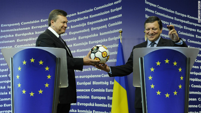 Dozens of European political figures have boycotted the event in protest at Tymoshenko's treatment, including the EU president and head of the EU commission Jose Manuel Barroso. Barroso is pictured here receiving an official Euro 2012 match ball from President Yanukovych just 18 months ago.