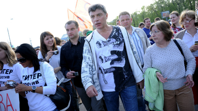 Leading opposition figure Boris Nemtsov, center, was also among the demonstrators who were arrested.