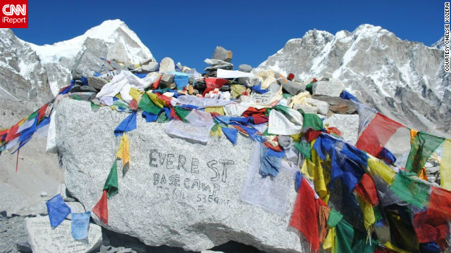 Chelsie Kozera snapped this shot of the colorfully decorated Everest Base Camp.