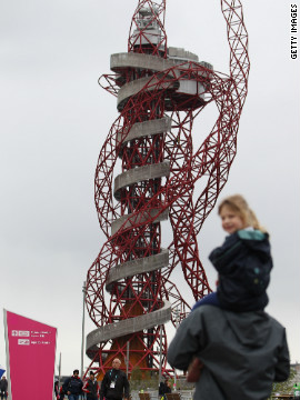 A sculpture by Turner Prize-winning artist Anish Kapoor looms over the Olympic Park. The 115-meter ArcelorMittal Orbit includes two viewing platforms for spectators to view the site.
