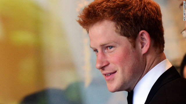 Britain's Prince Harry arrives at the Atlantic Council's 50th anniversary dinner in Washington on Monday.