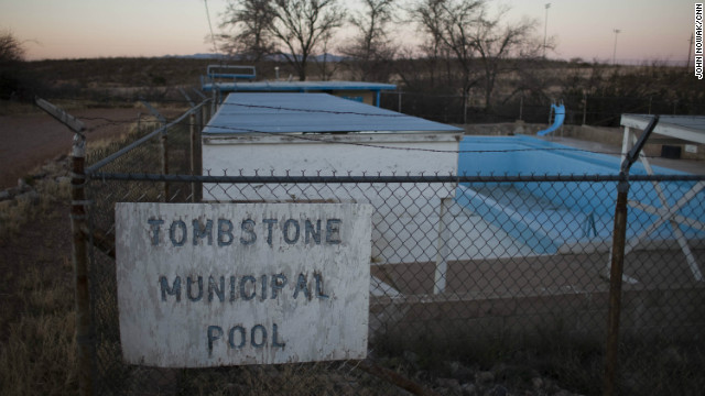 Once a Wild West boomtown, Tombstone now has a population of fewer than 1,500 residents. It survives thanks to tourists drawn to its violent history. A water crisis means the municipal pool might not be filled this summer. 